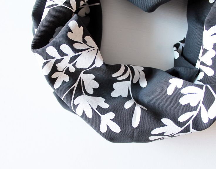 Tencel and Linen hand printed scarf in grey with oak leaf print - Twill & Print