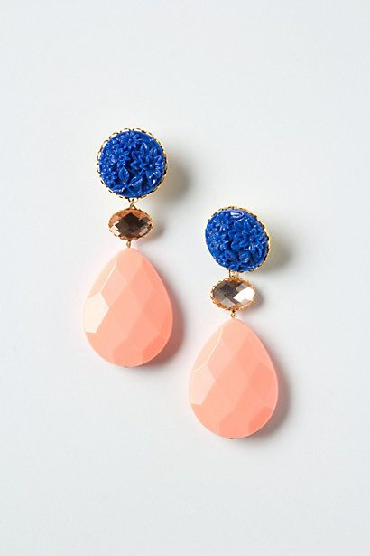 anthroplogie: Drop Earrings, Color Schemes, Color Combos, Anchusa Drop, Statement Earrings, Color Combinations, Fashion Accessories, Carvings Anchusa, Blue Earrings
