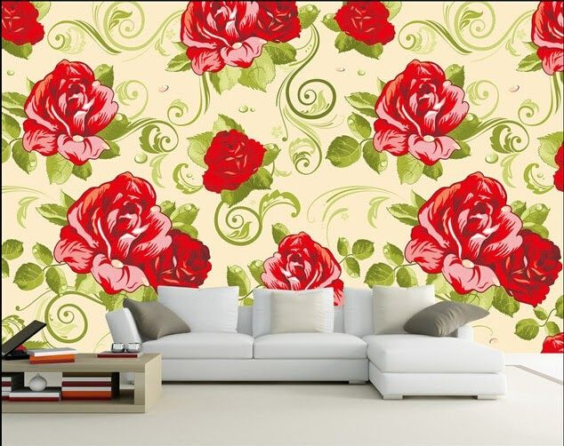 Wallpaper Dinding 3d Motif Bunga