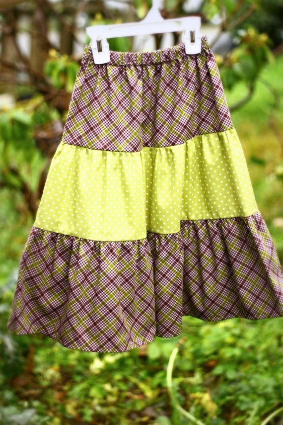 Girls' Size 6 Tiered Skirt Polka Dots and plaid by KreatedByKimmie