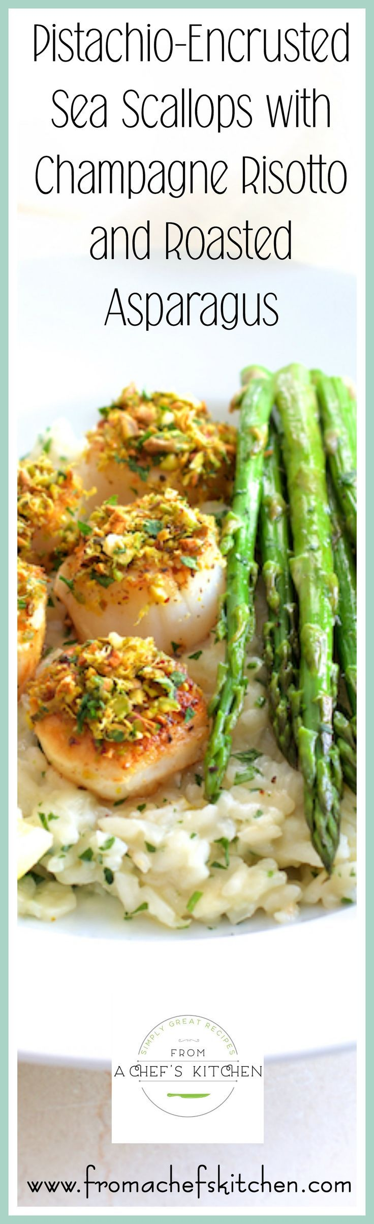 Pistachio Encrusted Sea Scallops with Champagne Risotto and Roasted Asparagus is a beautiful, restaurant-quality meal for two that's easy to prepare at home.