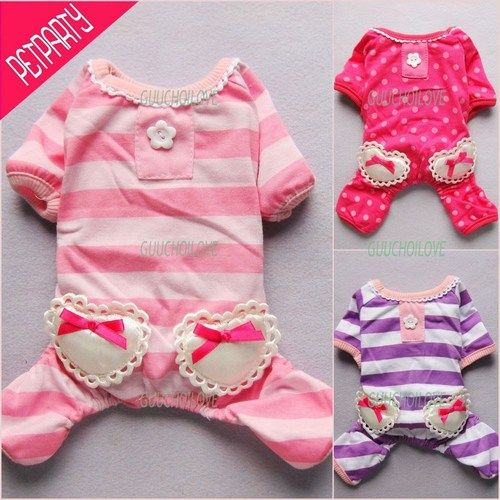 Sweet Heart Pajamas for Dog Clothes Pet Jumpsuit Princess Pants Free Shipping ★ | eBay