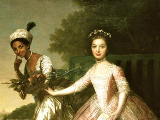 """Cousins Dido Elizabeth Belle, left, and Lady Elizabeth Murray in the painting that inspired the script for the new movie '""""Belle,"""" about a biracial woman raised as a beloved member of an aristocratic family in 18th-century England. Her loving relationship with her her great-uncle, the Lord Chief Justice of England, influenced his rulings that led to the abolition of slavery in the British Empire. The painting hangs in the Murray family home, Scone Palace in Scotland."""