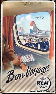1951 KLM LOCKHEED ELECTRA Rare Original Vintage Airline Travel POSTER Bon Voyage