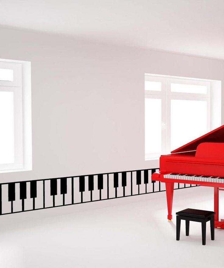 piano keys wall decal sticker musical instrument decor on wall stickers stiker kamar tidur remaja id=21318