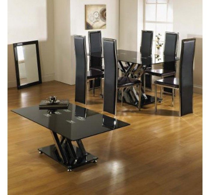 Excelsior Glass Dining Table With 6 Dining Chairs