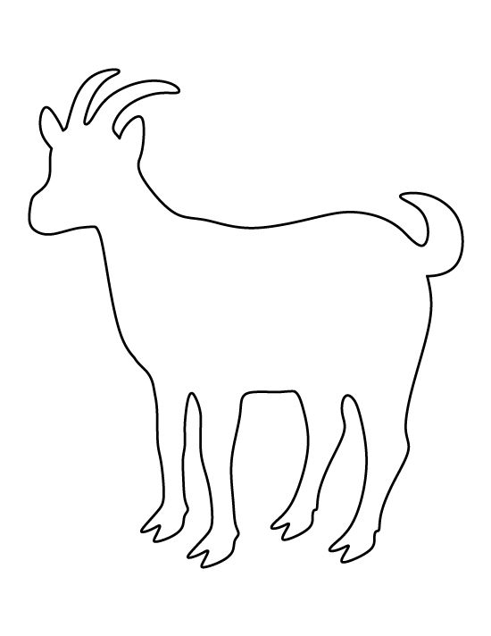 Goat pattern. Use the printable outline for crafts, creating stencils, scrapbooking, and more. Free PDF template to download and print at http://patternuniverse.com/download/goat-pattern/