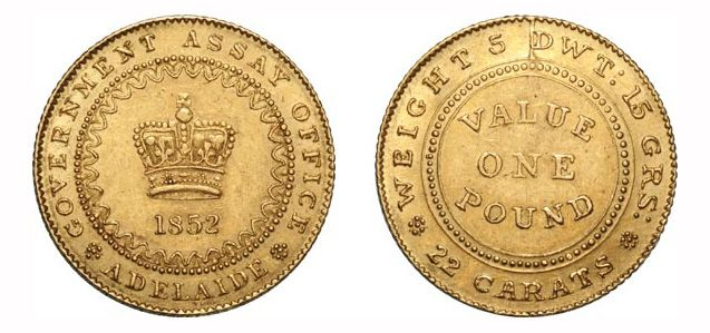 Providing a unique link to Australia's first 19th century gold rush, the 1852 Adelaide Pound was Australia's very first (unofficial) gold coin. Approximately 40 of the 1852 Adelaide Pound Type I coins were struck before it was discovered that the die had failed and had to be replaced. These coins are recognised by the die-crack to the left of the letters 'DWT' on the reverse design, and the presence of inner beading rather than crenulations.