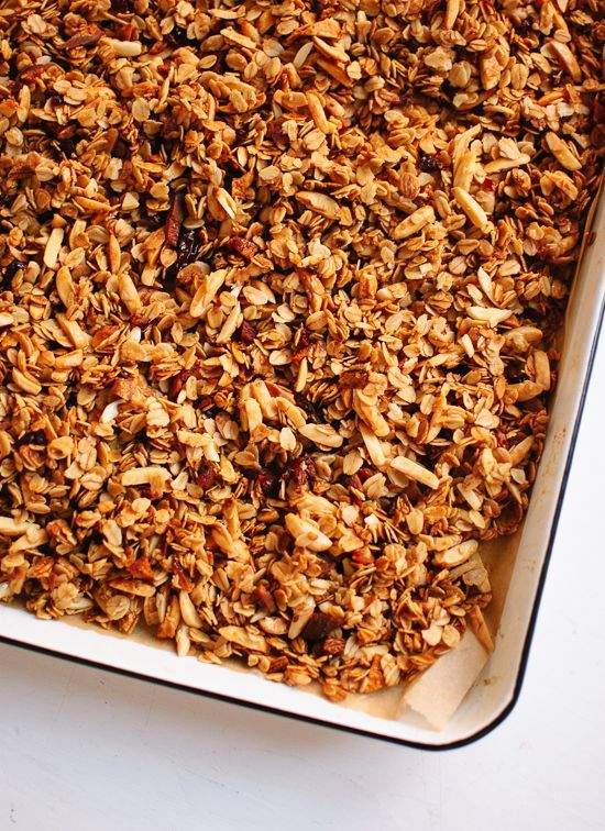 Homemade honey almond granola with dried   apricots.  Skipped the fruit but cut the oil in half, still   delicious.