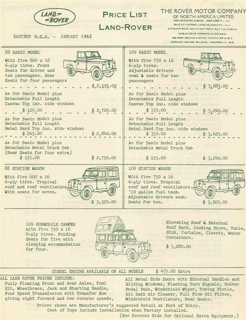 Land-Rover Price List - USA 1962 - Front