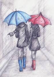 Resultado de imagen para dibujos de parejas con paraguas