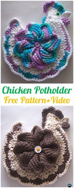 Crochet Chicken Potholder Free Pattern+Video - Crochet Pot Holder Hotpad Free Patterns