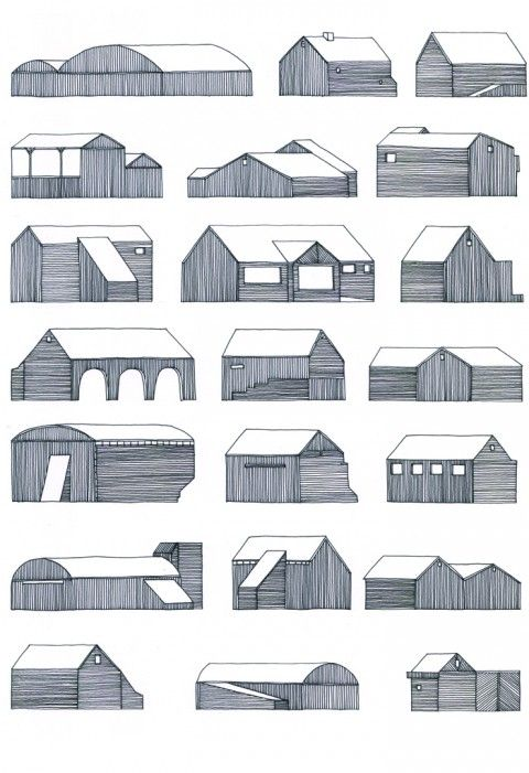 Nigel Peake - 22 Buidlings on the road (from #book In The Wilds : A collection of new work about the quiet places that I grew up around and continue to visit and live in) / http://www.nigelpeake.com #illustration #architecture