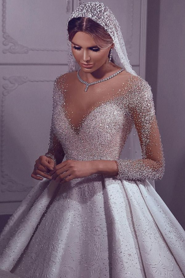 [500.50] Luxurious Shimmering Beaded Bateau Neckline Ball Robe Wedding ceremony Clothes