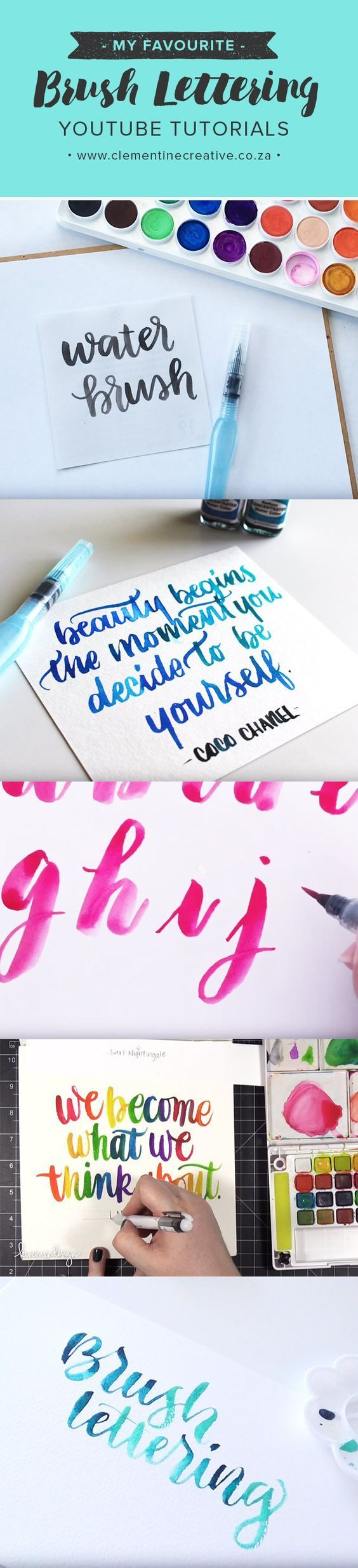 Favourite water brush lettering YouTube tutorials for beginners. Interested in learning brush lettering? These free videos show you the basics using a water brush. #EmbroideryforBeginners