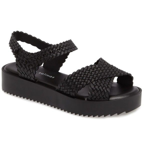 Melissa x Salinas Hotness Sandal (Women) (160 BRL) ❤ liked on Polyvore featuring shoes, sandals, black, melissa sandals, ankle wrap sandals, black ankle strap sandals, black huarache sandals and black sandals
