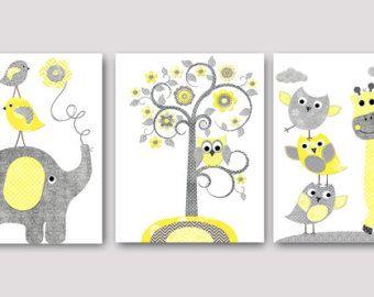 Nursery Decor baby Boy nursery decor yellow gray by GalerieAnais