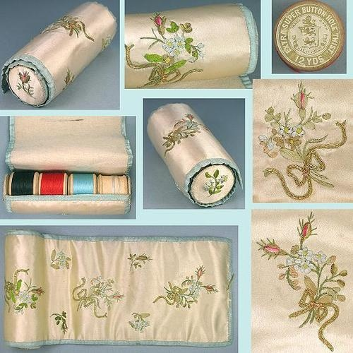 Antique Embroidered Silk Sewing Roll For Spools & Needles; Circa 1890