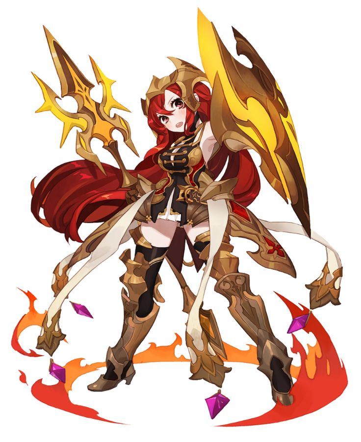 1girl armor gwayo knight long_hair open_mouth polearm red_hair shield simple_background solo sword thighhighs very_long_hair weapon
