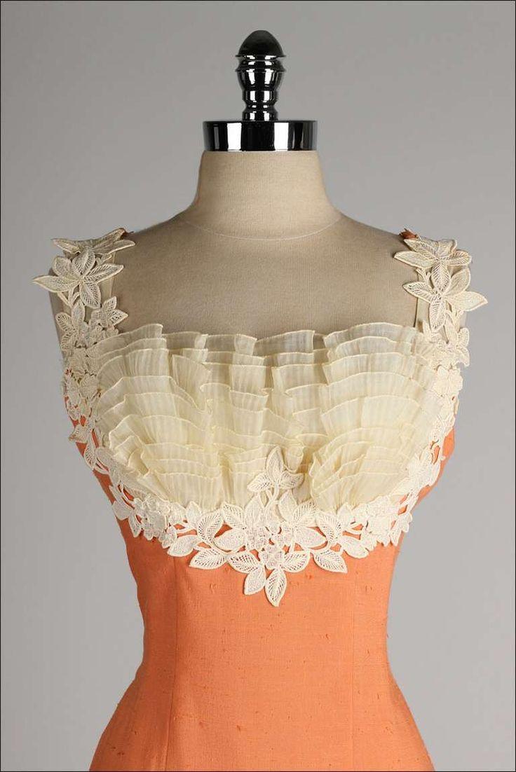 Vintage 1950's Lilli Diamond dress...stunning bust detail! Women's vintage spring summer fashion clothing