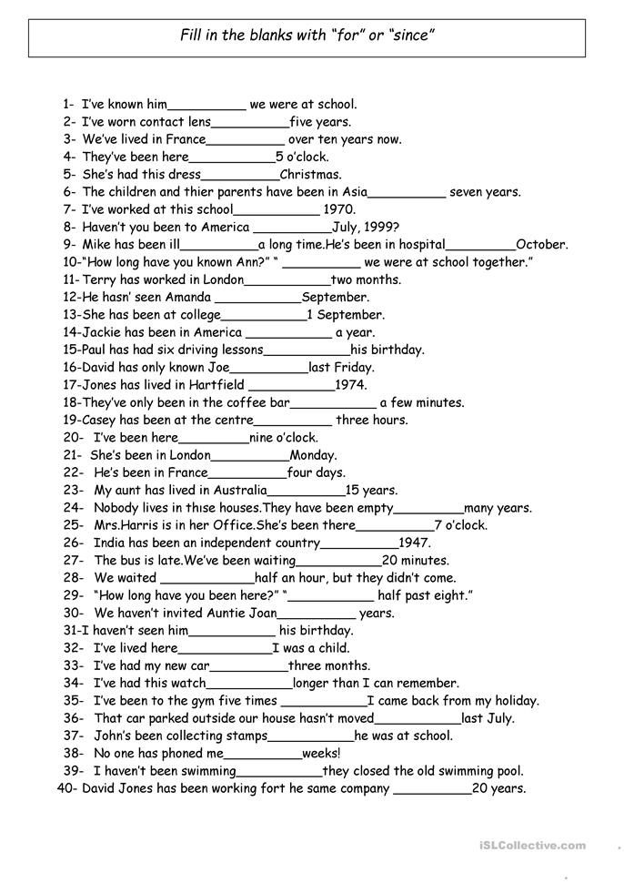 For And Since Teaching English Grammar Learn English Words English Grammar Worksheets