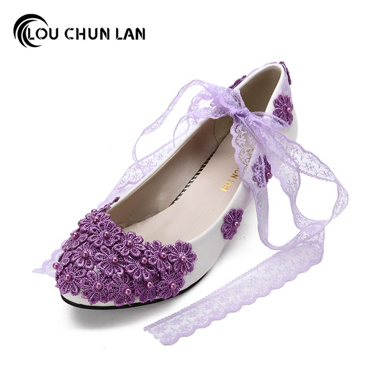 ==> [Free Shipping] Buy Best Purple Bridesmaid Shoes Women's Shoes Low-Heeled Lace Handmade Flower soft outsole Bridal Shoes Female Wedding Shoes Online with LOWEST Price   32826488727