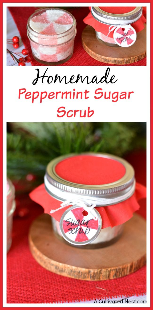 Keep your skin healthy this winter with this homemade peppermint sugar scrub recipe! This makes a wonderful homemade Christmas gift! It's frugal, too!