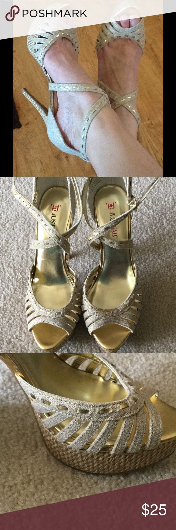 """Neutral heeled Sandals Done with gold thread accents, size 7.5, TTS, heel 5.25"""" JustFab Shoes Heels"""