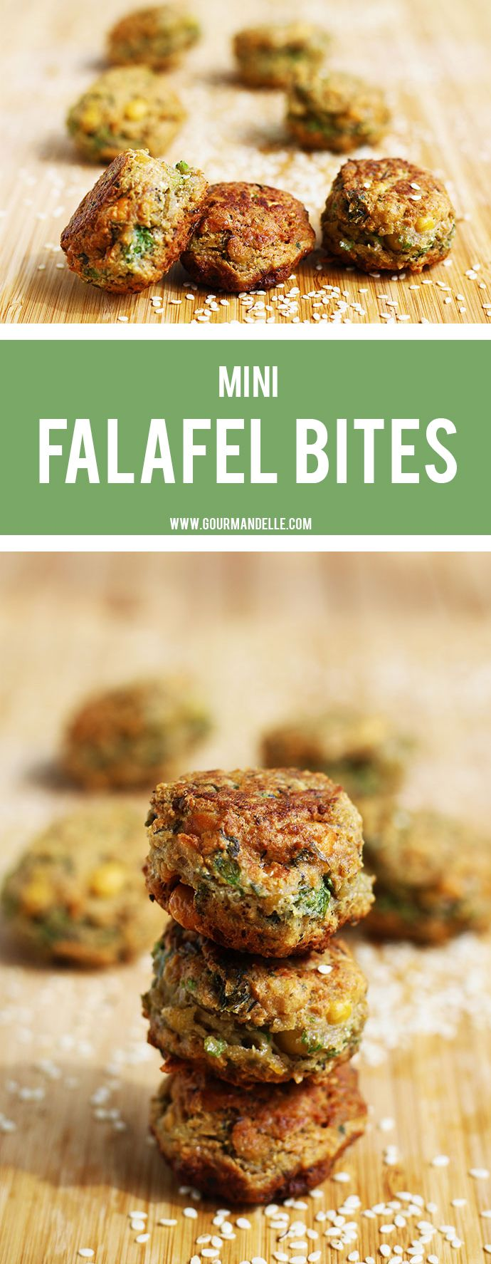 These mini falafel bites can be used as snacks, party appetizers or accompany a delicious mashed potato with salad meal. Check out the recipe below!  http://gourmandelle.com/mini-falafel-bites/