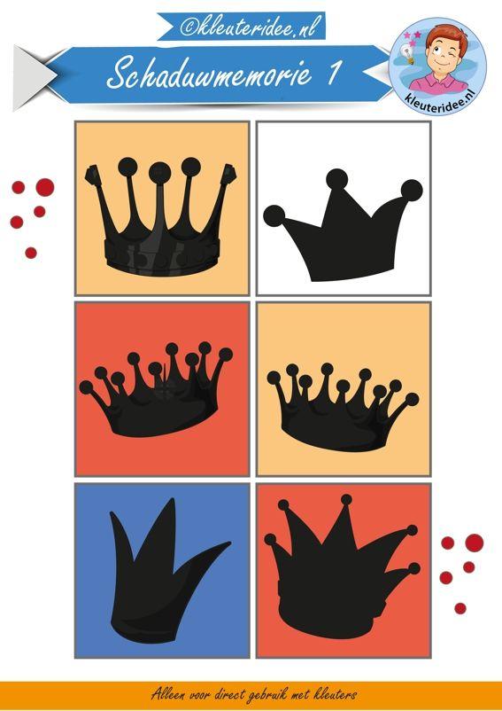 Schaduwmemorie bij thema koningsdag 1, kleuteridee,  Crownmemory free printable.. hoort bij kronen memorie