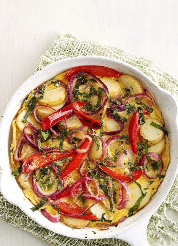Spanish pepper and potato omelette. The ultimate comfort food which clears out the fridge too, try our best Spanish omelette recipe with red onion, red pepper and new potatoes. Serve with a rocket salad