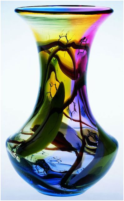 Marian Pyrcak Hand blown Tall Glass Vase