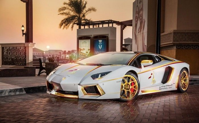 Gold Plated Lamborghini Aventador LP700-4 Spotted In Qatar