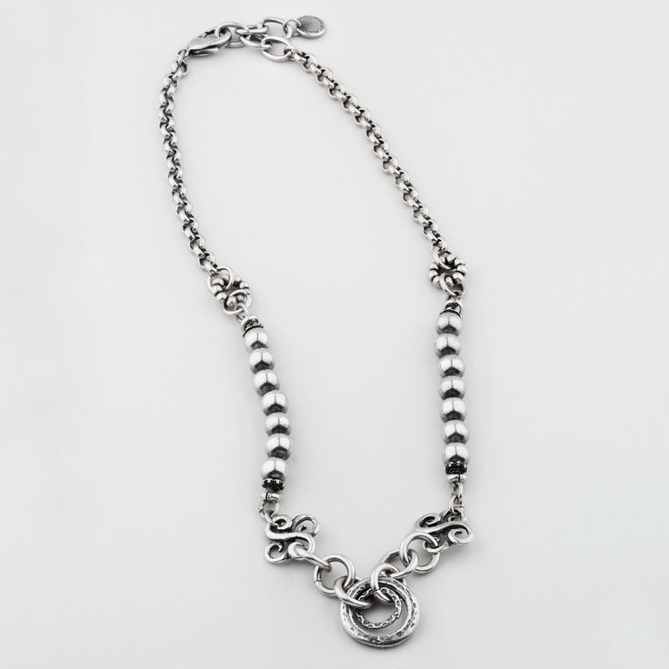 N1437 Petite #silver #bead and #chain #necklace with #filigree detail - www.miglio.com