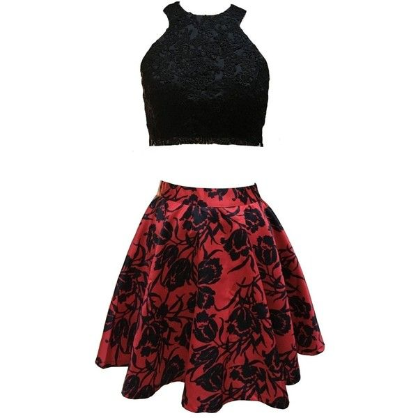 Floral Printed Two Piece Prom Dress 2016 Short Black Red Lace Top... (£87) ❤ liked on Polyvore featuring dresses, cocktail prom dress, lace cocktail dress, lace dress, prom dresses and red lace dress