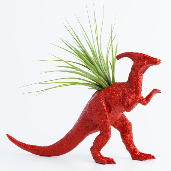 Dinosaur Planter with Air Plant Room Decor, College Dorm Ornament, Toy Planter, Red Tillandsia Pot