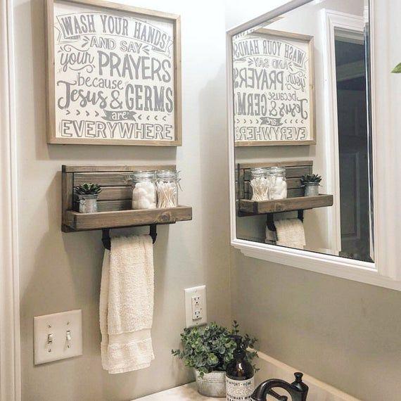 Small Hand Towel Holder Towel Rack Bathroom Decor Towel Etsy Small Bathroom Decor Farmhouse Bathroom Decor