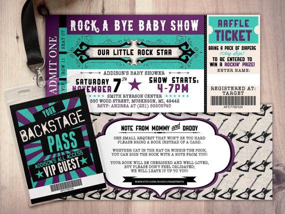 57 best Rock Star Baby Shower images on Pinterest Rock star - concert ticket invitations