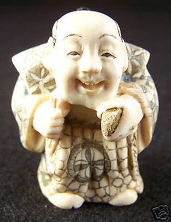 Japanese Netsuke Happy Man Antique Carved Bone by homespunjewelry, $225.00