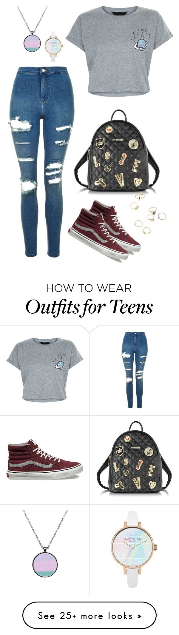 """Space"" by mshlychenko on Polyvore featuring Topshop, New Look, Vans and Love Moschino"