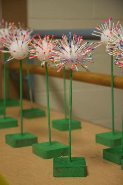 colorful Q-tip dandelions - how cute!