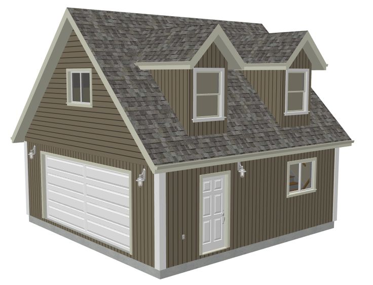 G527 24 X 24 X 8 Garage Plans With Loft And Dormer Render