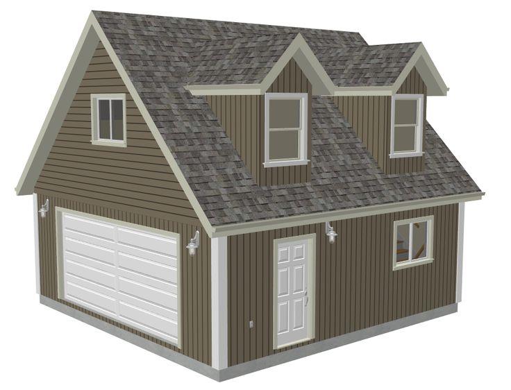 #G527 24 X 24 X 8 Garage Plans With Loft And Dormer Render