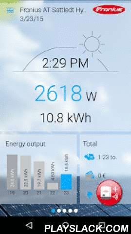 Fronius Solar.web Live  Android App - playslack.com ,  With the free Fronius Solar.web Live App you get a fast and easy overview on the latest data of your PV system with Fronius inverter(s): - Clear visualisation of current data- Archive data of the last 5 days - Visualisation of the total values of your PV system - Supports the setup wizard for the Fronius monitoring - Intuitive, easy-to-use interface To use the app for viewing your own PV system data, your system has to be registered at…