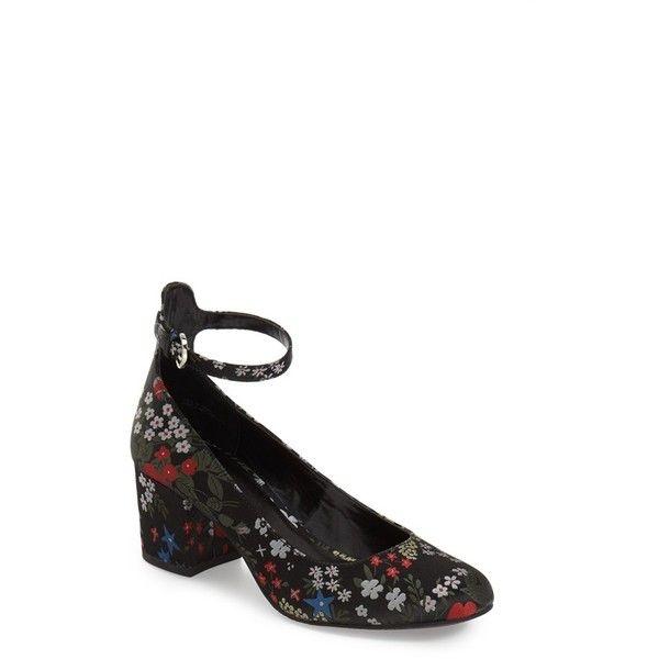 Women's Bp. Ankle Strap Block Heel Pump (260 ILS) ❤ liked on Polyvore featuring shoes, pumps, black multi floral satin, black ankle strap shoes, floral print pumps, floral shoes, satin ankle strap pumps and floral pumps