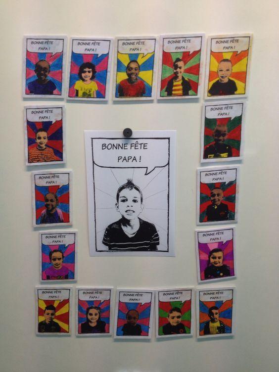 Cadeau de fête des pères Magnet en plastique fou à mettre sur le frigo: imprimer la photo de l enfant en N&B style BD sur une 1/2 feuille de plastique fou blanc et colorier au crayon