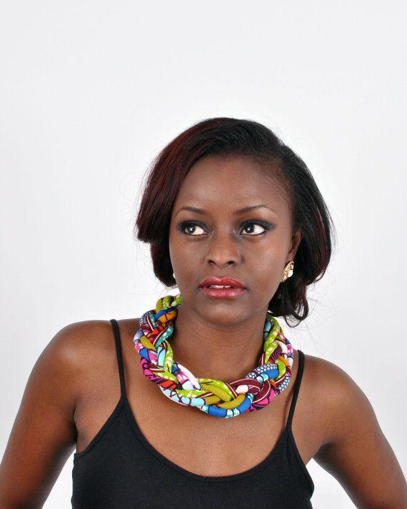 Statement Necklace Ankara necklace African print by UzuCreations