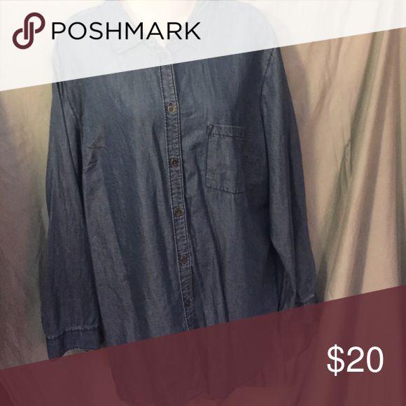 Ladies Denim shirt Front pocket button down shirt a.n.a Tops Button Down Shirts