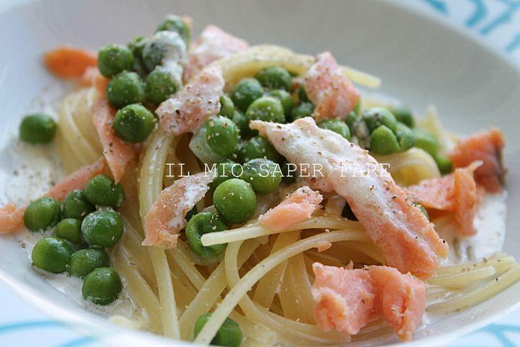 Pasta al salmone affumicato e piselli
