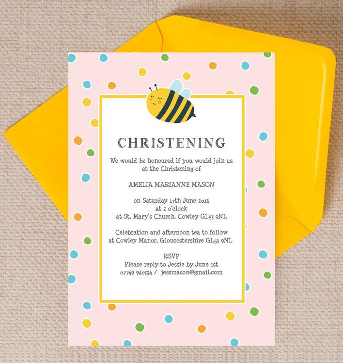 Bumble Bees Christening Baptism Invitation